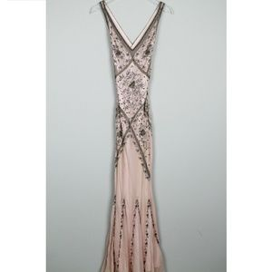 Vintage Cache Maxi Dress Beaded Mermaid Style Pink
